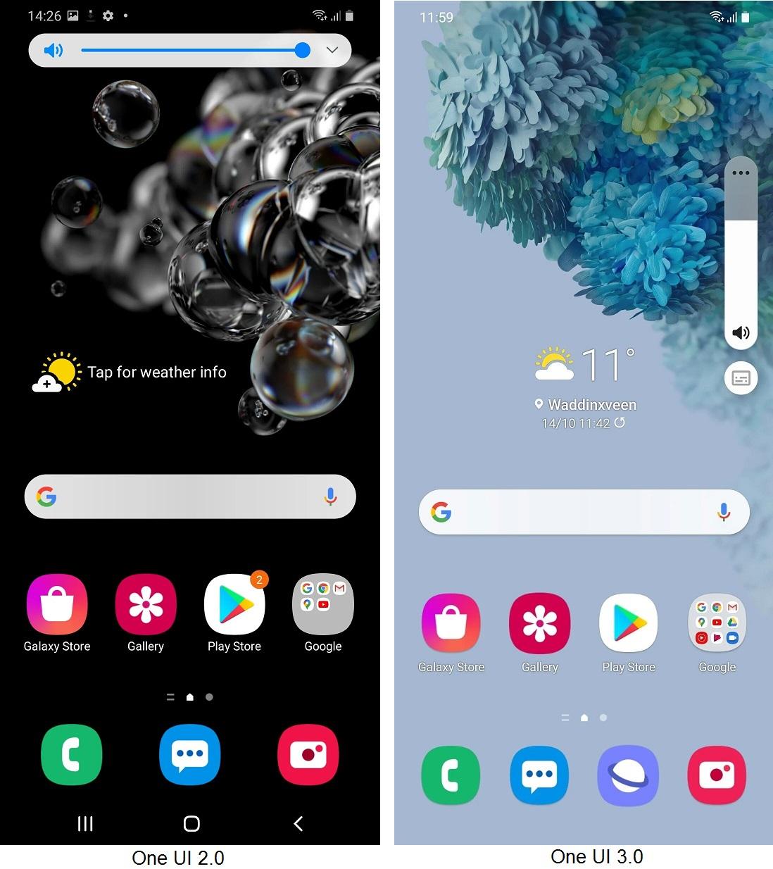 One UI 3 در مقابل One UI 2