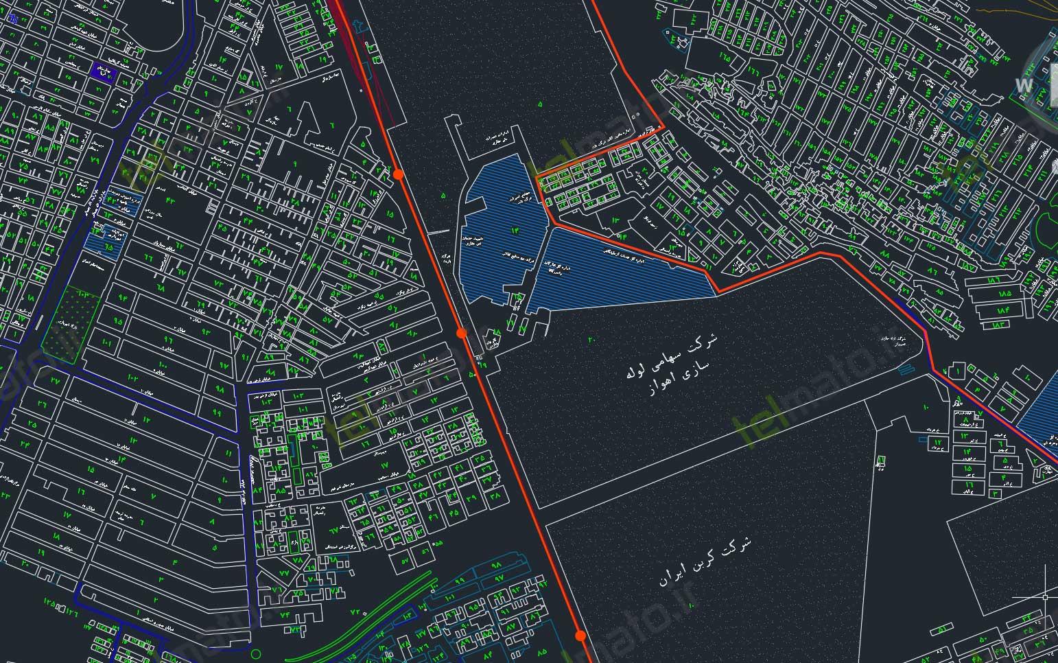دانلود رایگان نقشه اتوکد شهر اهواز ahvaz autocad map DWG + دانلود فایل طرح تفضیلی
