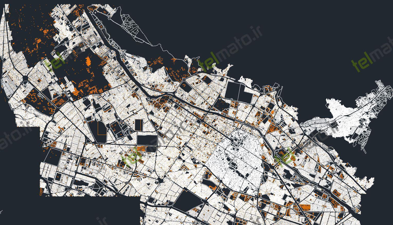 دانلود رایگان نقشه جدید اتوکد شهر شیراز dwg و طرح تفضیلی