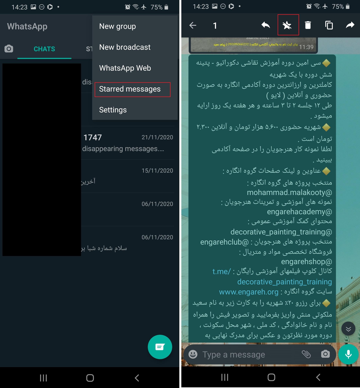 ستاره دار کردن پیام در واتس اپ