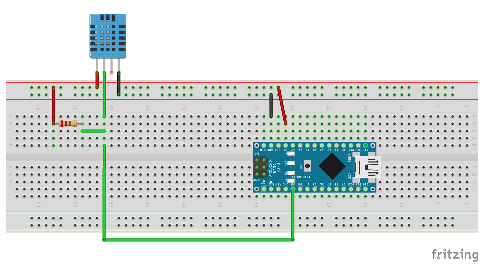 Schematic of DHT11 startup circuit with Arduino NANO