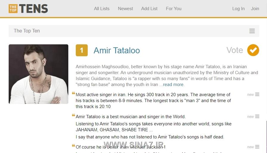 عکس (اسکرین) از رتبه بندی جهانی بهترین خواننده ، امیر تتلو 2021