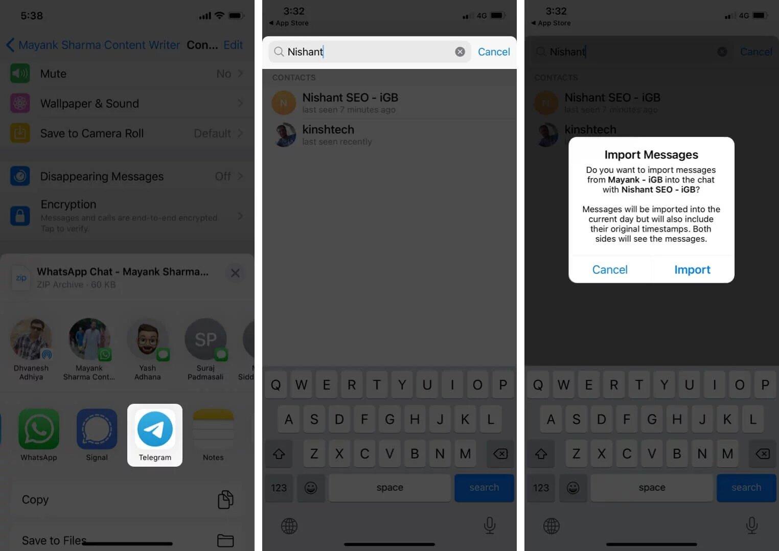 انتقال پیام ها از واتس اپ به تلگرام در آیفون