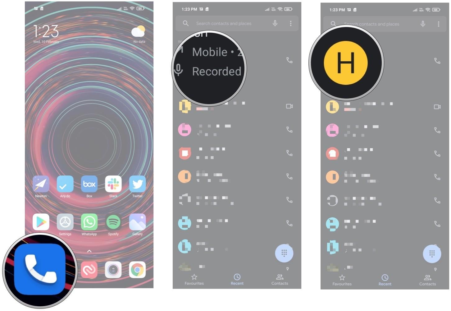 تماس های ضبط شده با برنامه گوگل phone